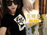 短袖纯棉t恤女2015夏季新款圆领韩版外贸货源网代发纯色打底小衫