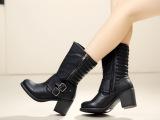 外贸原单大码靴  双皮带扣粗跟中筒单靴 新款靴子 质量超好 女靴