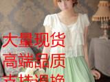 厂家直销 韩版清新缕空拼色百褶雪纺连衣裙 阿里巴巴批发网1688