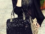 韩版美包包 黑色性感豹纹单肩女包 欧美潮时尚女士亮片手提包