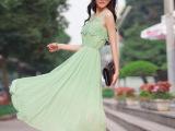 2014夏季新款 韩版波西米亚无袖蕾丝钩花雪纺连衣裙-