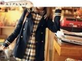女式日韩秋装学院风双排扣风衣外套学生服 外套批发A4-8153