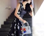 外贸原单2015 女装 春夏新款欧美女装蝴蝶印花高端连衣裙批发