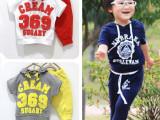 2015年夏款男童女童纯棉品质短袖套装369数字中小男女童装
