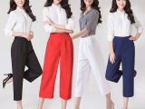 2016夏季新款韩版高腰宽松休闲裤女时尚