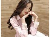 春装新款2014女装 韩版蕾丝领衬衣白色打底衫衬衫 女 长袖