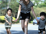 2015亲子装夏全家一家三口母女母子套装(t恤 短裤)套装新款