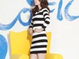 2014春装新款 九分袖连衣裙一件代发 淘宝货源针织黑白条纹连衣