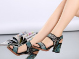 欧美品牌粗高跟新款凉鞋 麦家蛇纹真皮女鞋 批发零售 一件代发