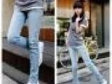厂家直销)2013 韩版 潮 天蓝色弹力休闲小脚牛仔裤 铅笔裤