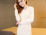 特价2014秋冬新款韩版时尚女式针织衫修身麻花长款打底毛衣女
