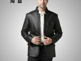 2013新款海宁皮衣 男式短款羊皮修身立领真皮夹克休闲真皮西装