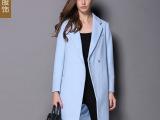 2014秋装新款欧美时尚大牌经典浅蓝优质风衣