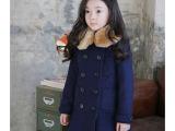 2014冬装新韩女童公主毛领外套儿童双排扣中长款修身版呢大衣