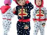 麻麻爱2014童装冬款 大猴子卫衣童套装 外贸童装 加绒加厚
