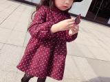 贝秀贝2015秋冬新款 儿童小圆点加绒加厚连衣裙R4065