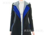 2013韩国新款秋冬季原单外贸修身拼接连羊毛女装大衣西装外套