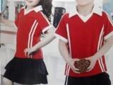 儿童套装校服幼儿园园服加工定制-夏装大红色V领