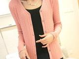 2014秋装新款 韩版V字领麻花长袖 显瘦毛衣纯色外套 开衫针织