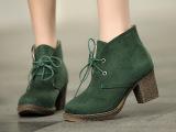 一件代发批发现货绒面休闲系带粗跟短靴马丁靴靴子单靴裸靴 秋冬