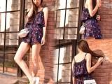 2015夏季新款韩版女装百搭樱桃花朵印花荷叶边雪纺吊带连体裤裙裤