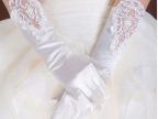 新娘结婚纱手套有指绣花缝珠BSJ-037纯白色手套厂家直销现货混批