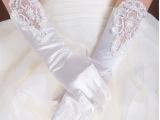 新娘结婚纱手套有指绣花缝珠BSJ-037纯白色手套厂家直销现货混