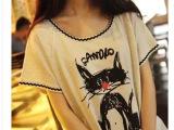 空气猫|经典。日系小清新学院风红鼻子猫休闲T恤 女上衣森女 批发