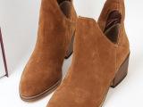 2014秋冬季ZARA新款短靴 真皮V口粗跟圆头靴子中跟休闲百搭