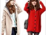 2013秋冬女装修身平板纯色加厚长款开衫连帽毛衣外套 毛衣开衫