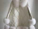 2013欧洲站斗篷新款女装真皮衣绵羊皮狐狸毛领羽绒连帽中长款外套