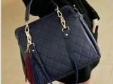 2013女包新款韩版 潮流菱格包包休闲复古包单肩流苏手提女包