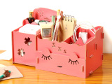 厂家供应觅秀尔M511韩版化妆品收纳盒DIY桌面创意木质收纳盒