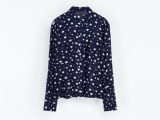 2014春季较新口袋饰星星印花衬衫 欧美较流行修身长袖衬衫