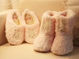 新款毛绒绒浅粉色小兔带小尾巴蝴蝶结家居棉拖鞋家居棉靴静音批发
