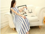 2014夏装新款 波西米亚雪纺条纹圆领品牌背心长裙 连衣裙