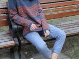 2014秋冬新款女装大码民族风复古条纹几何宽松女针织衫毛衣女批发