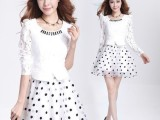 2014春季新款 韩版 欧根纱 可爱波点假两件套蕾丝时尚蓬蓬 连