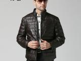 2013新款海宁真皮羽绒服 男式短款修身立领羊皮真皮羽绒皮衣外套
