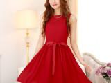 2014夏季新款 韩国修身打底连衣裙 小礼服优雅无袖雪纺公主裙