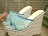 2014新款韩版网纱厚底坡跟鱼嘴凉鞋女超高跟凉拖鞋舒适女鞋批发