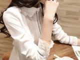 2014新款女装 韩版蕾丝领衬衣白色打底衫衬衫 女 长袖 一件代