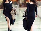 韩版新款时尚性感瘦身包臀侧开叉长袖连衣裙批发 代发