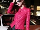 2013秋装新款女装韩版拼接立领短款修身机车PU皮衣皮夹克外套女
