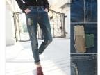 林弯弯秋冬韩版修身水洗弹力长裤子男士破洞补丁牛仔裤铅笔小脚裤