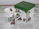 手工礼品盒花卉陶瓷杯 欧美品质马克杯 定制广告促销水杯等