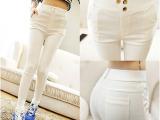 2015韩版小脚九分裤子女显瘦紧身弹力外穿白色打底裤铅笔长裤
