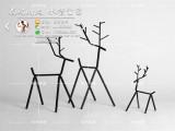 现代简约鹿铁艺摆件 几何动物创意铁艺工艺品 黑色铁艺家居装饰