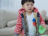 小蚕蛹格子小熊棉衣冬季加厚男童棉袄韩版连帽中小儿童棉衣批发潮