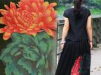 桑蚕丝布料重磅真丝香云纱面料老料 莨绸 缎面 红蓝牡丹花 中国风